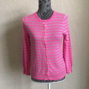 J Crew Medium Pink Striped Cashmere Cardigan